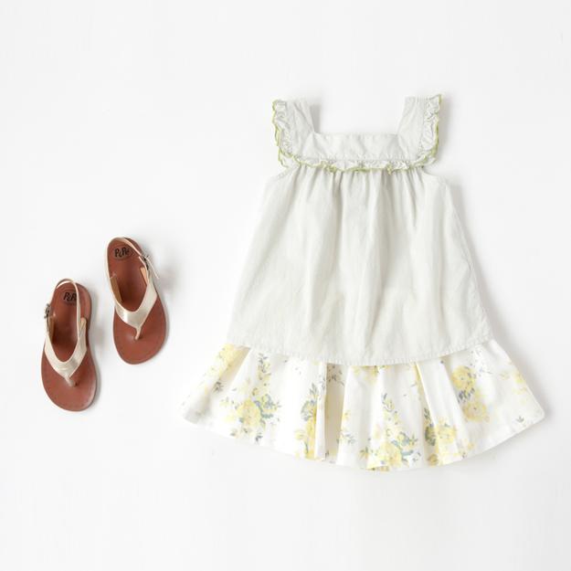 BONTON-ノースリーブブラウスとフラワープリントのスカート