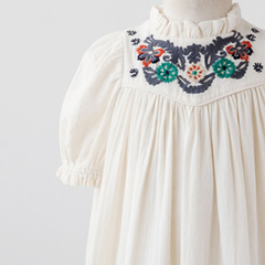 キッズ 刺繍半袖ワンピース(102 オフホワイト)
