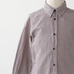 ストライプシャツ(221 ベージュピンク×グレー)