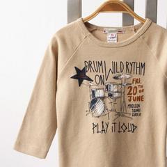 ドラムプリントTシャツ(163 ベージュ)