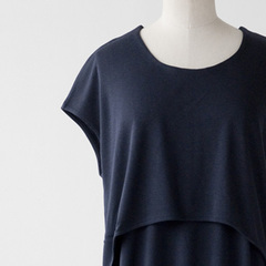 HANNAH by beaumont organic HARRIET フレンチスリーブワンピース(NAVY )