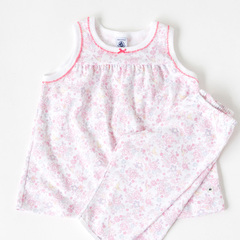 PETIT BATEAU 2016SS キッズ フラワープリントノースリーブパジャマ(91 ホワイト×ピンク)3A-4A