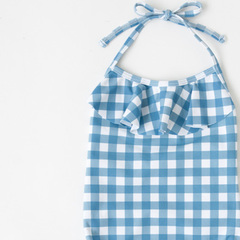 OEUF 2016SS キッズ ギンガムチェックホルターネックワンピース水着(117 BLUE GINGHAM)4A-6A