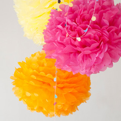 Pom Yellow asst 3 set ペーパーポンポン3個セット(イエロー・オレンジ・ピンク)
