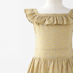 CARAMEL BABY&CHILD CILANTRO DRESS フリルカラーワンピース(OLIVE SMALL FLOWER オリーブ系)3A-6A