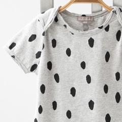 EMILE ET IDA TEE SHIRT US CHINE SURTEINT半袖ドットプリントTシャツ(124 GRIS CHINE)12M-2A