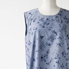 MAKIE 2016SS レディース SLEEVELESS DRESS JUNEバードプリントワンピース(BLUE BIRD)S/M