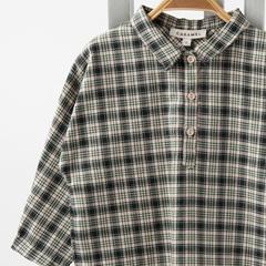 CARAMEL COAL BABY SHIRT タータンチェックシャツ(TARTEN MOSS グリーン系)12M-2A