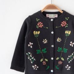 BONPOINT 2017SS ベビー フラワー刺繍 コットンニットカーディガン(999 ブラック)
