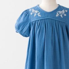 BONPOINT 2017SS キッズ ELSA コットンガーゼ 刺繍ワンピース(115 ブルー)